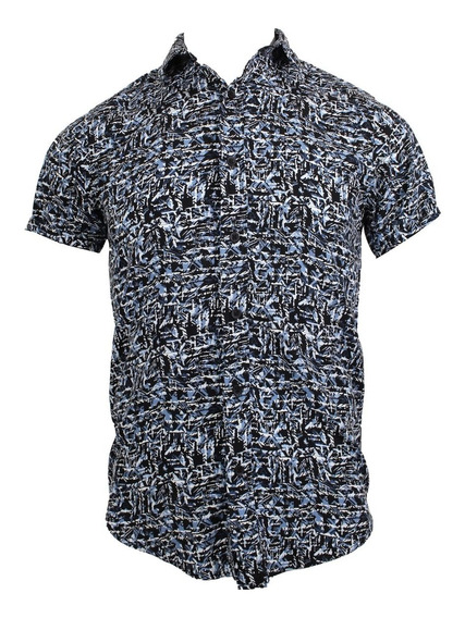 Camisa M/c Texturas Azules