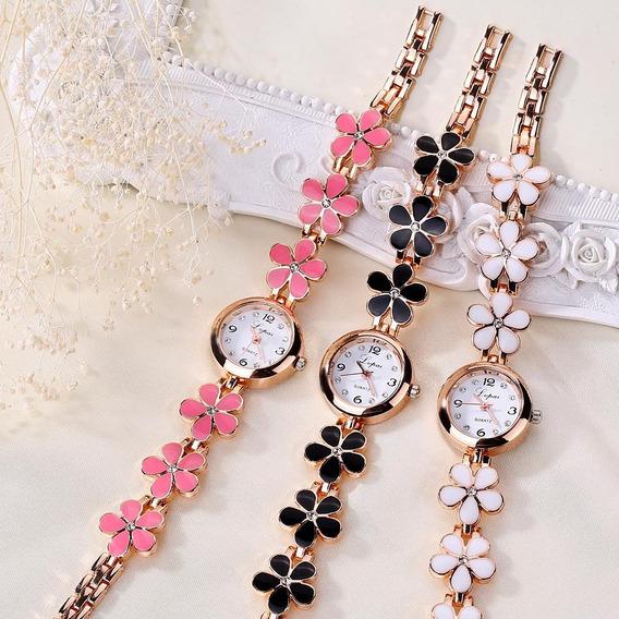 Relógio Feminino Flores + Brinde