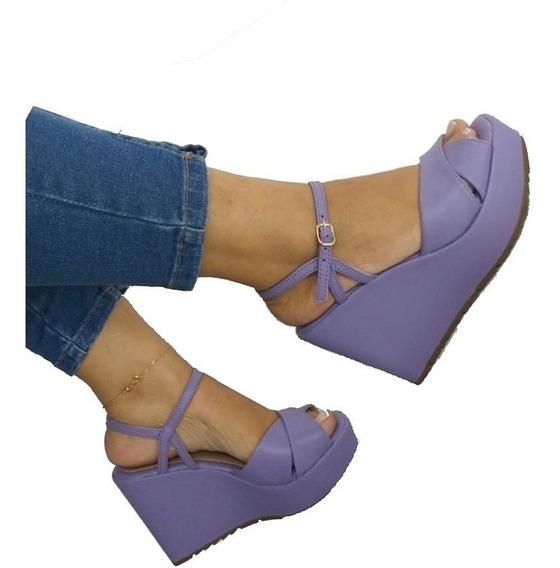 Sandalia Anabela Feminin Alta Roxa Violeta Plataforma Lavand