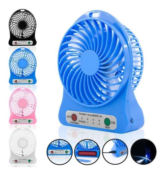 Ventilador Portatil Recargable Usb Con Linterna Luz Aire