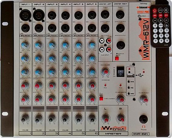 Mesa De Som 6 Canais Wmr 612 V Efect Usb 110 200 E 12 Volt
