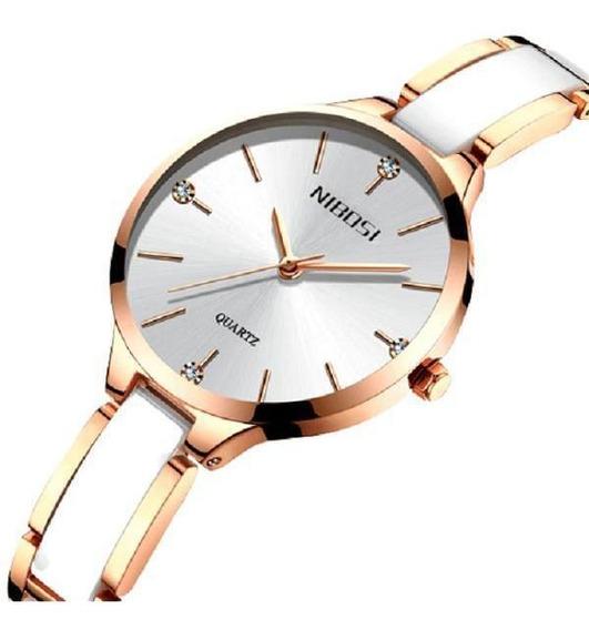 Relógio Pulso Feminino Nibosi 2330 Pulseira Cerâmica Branco