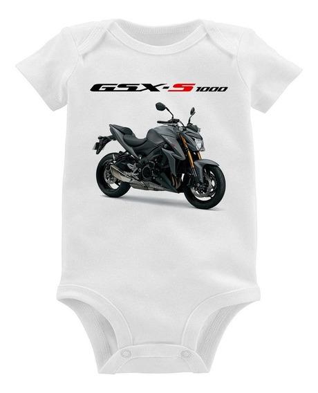 Body Bebê Moto Suzuki Gsx S 1000 Cinza