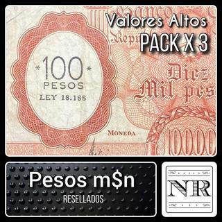 Argentina - Año 1969 - Billetes M$n Resellados - Pack 3