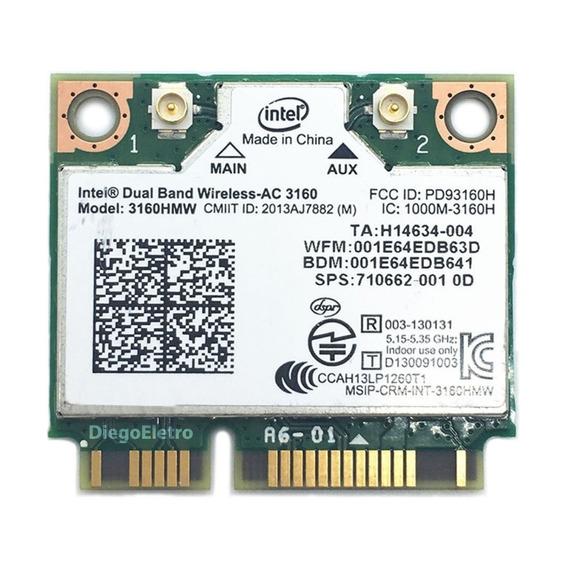 Placa Wifi 5ghz Intel Dual Band Para Notebook Samsung Rv411