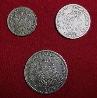 Moedas De 100 200 400 Réis 1901 C/ Sigla Liberti E Estrelas