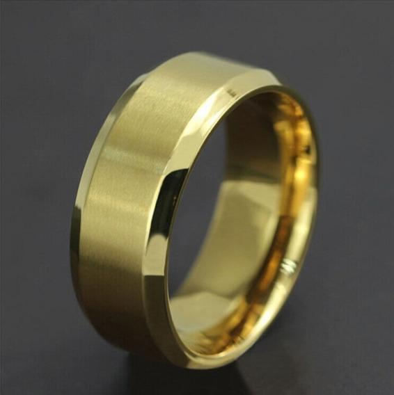 Anel Dourado Em Aço Inoxidável 8 Mm/tamanho 10