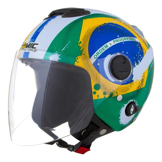 Capacete Aberto Pro Tork New Atomic Brasil Viseira Solar S