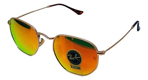 Óculos De Sol Hexagonal Retro Vintage Masculino Feminino Vermelho Espelhado Tamanho 51 M