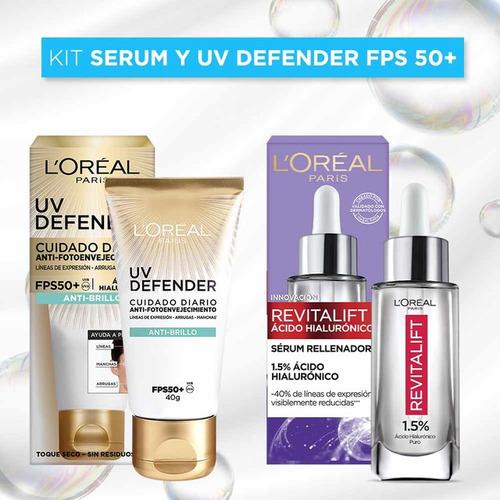 Imagen 1 de 9 de Kit Loreal: Serum Ácido Hialurónico 30ml + Uv Defender 40g