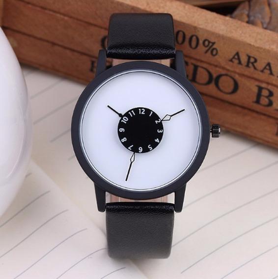 Relógio Masculino Geneva Pulso Social Preto Pulseira Marrom