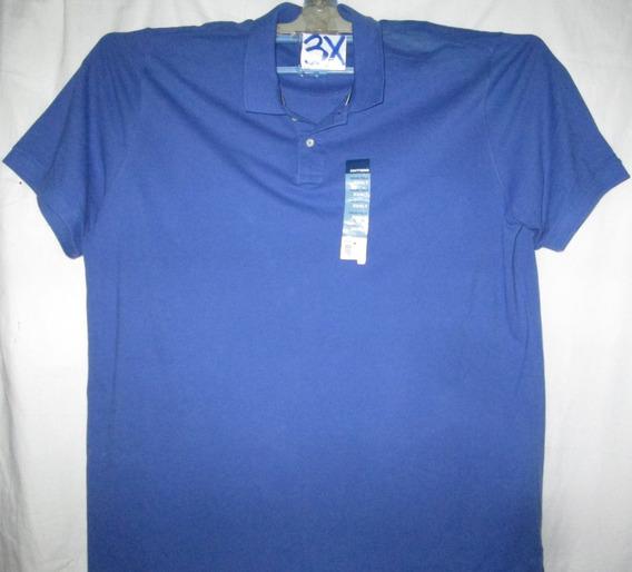 Camiseta Azul Tipo Polo De Hombre Talla 3x Basic Edition