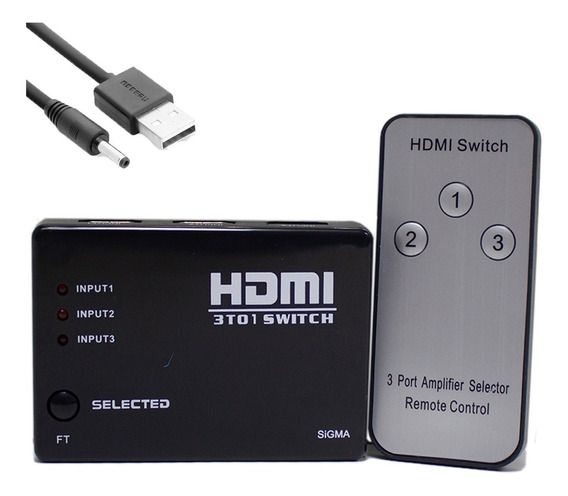 Hub Switch Hdmi 3x1 Controle Remoto E Cabo Energia Barato