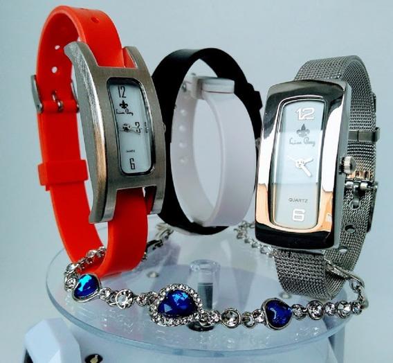 Kit 2 Relógios Feminino De Marca Prateado Luxo Social Pequenos Troca Pulseira De Silicone E Aço Inoxidável+caixas+frete