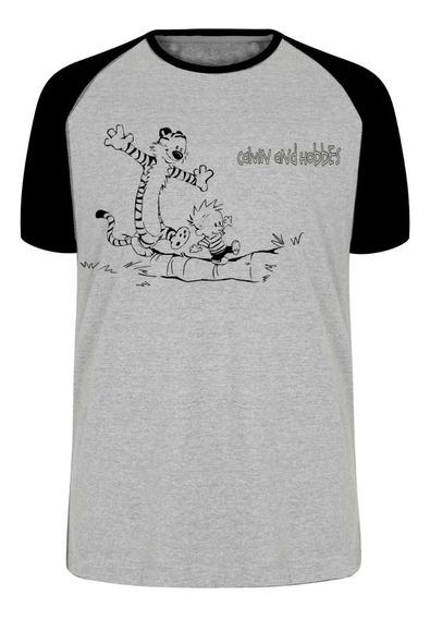 Camiseta Luxo Calvin And Hobbes Desenho Menino E Tigre