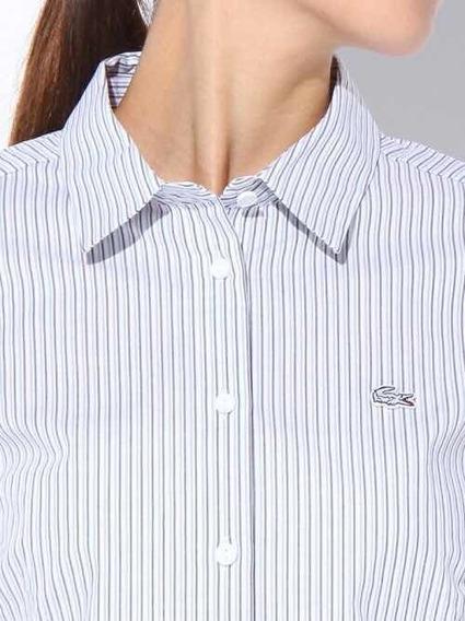 Camisa Lacoste De Dama A Lineas Azules Nueva Y Original