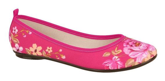 Balerina Fondo Rosa Estampada Con Flores