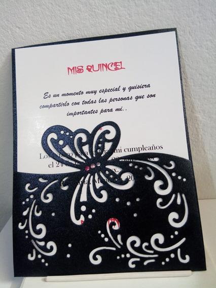 Tarjeta Invitacion 15 Años Mariposa Con Etiqueta