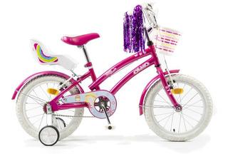 Bicicleta Infantil Niñas Olmo Tiny Friends Rodado 16 Rosa