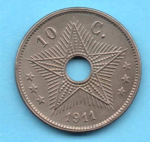 Congo Belga, 10 Centimes De 1911 - Km#18 - Xf -