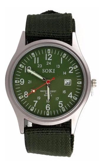 Relógio Masculino De Pulso Soki Verde Promoção Barato