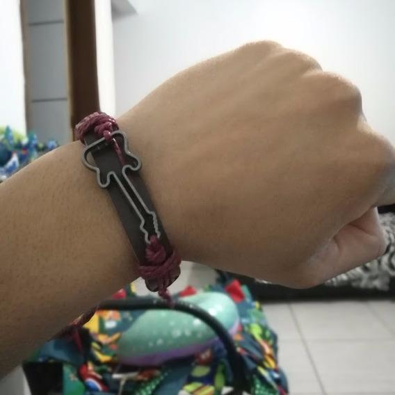 Pulseira Bracelete Vinho E Preto Rock Music Unissex