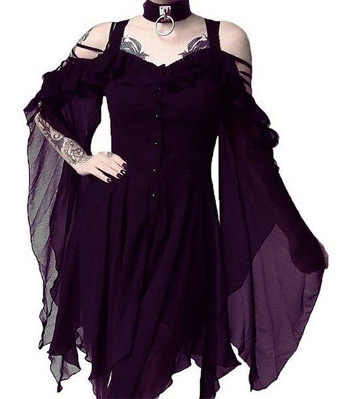 Gothic Night Dress Party Mulher Saia Lady Strapless