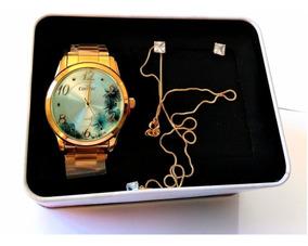 Relógio Kit Feminino Dourado Condor C02039at/k4a