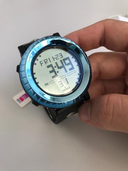 Relógio Skmei Digital Preto Com Azul Reluzente Ref: 1172