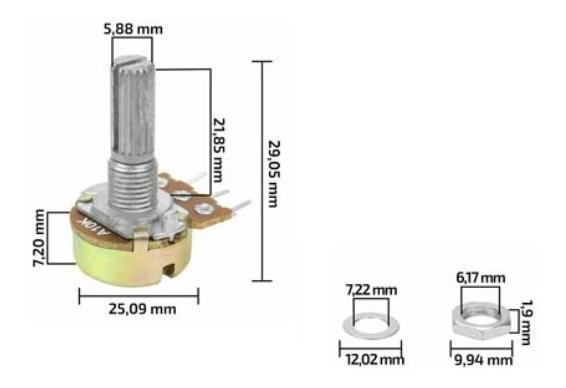 10un Potenciometro Log Logaritmo Logaritimico 10k L20/16mm