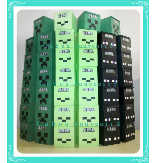 Cubos Golosineros Banderines Minecraft Cumpleaños