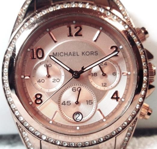 033 Rlg- Relógio De Pulso Michael Kors- Rose Com Strass- Mk
