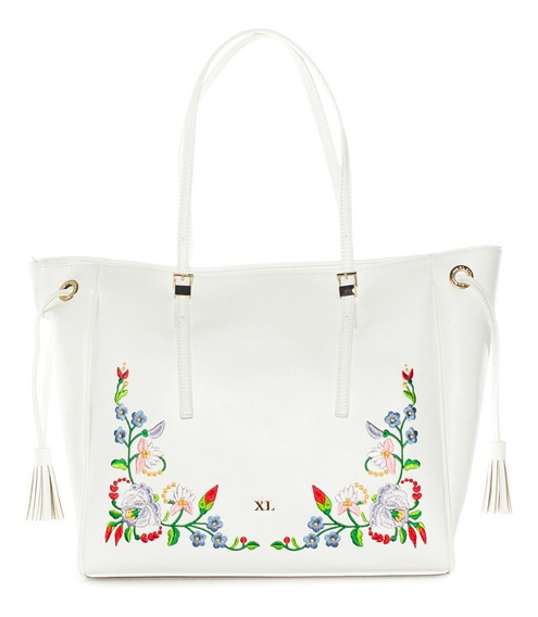 Butterfly Tote Blanco Cartera Xl Extra Large Mujer