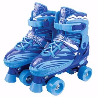 Patins 4 Rodas Clássico Azul 34/37 Ajustável Roller Skate A