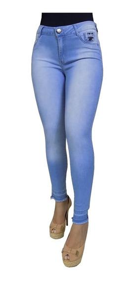 Calça Feminina Blue Denim Jeans Lavagem Barra Frete Grátis