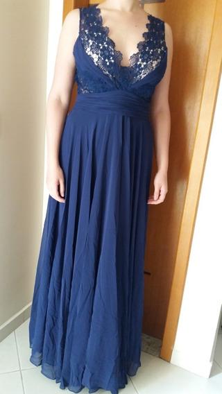 Lindo Vestido De Festa Azul Longo.
