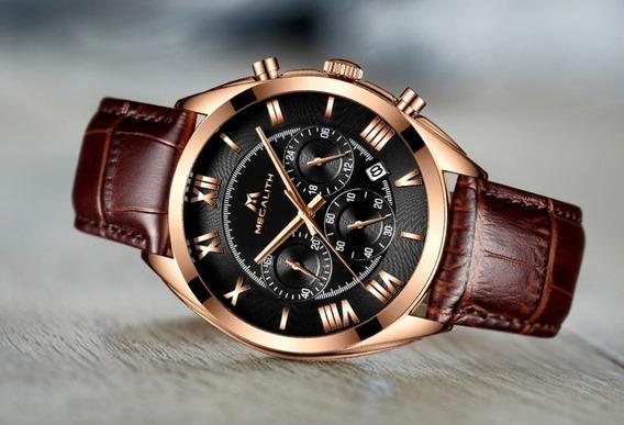 Relógio Megalith Masculino Social Dourado Couro Aço Inox