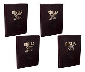 Kit Com Quatro Bíblias Com Reflexão De Lutero C. Vinho Nobre