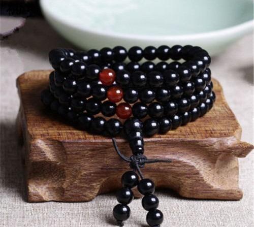 Collar Pulsera Negro Ágata De 6mm Budista Meditación