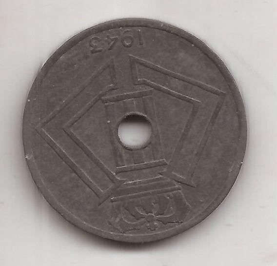Belgica Moneda De 25 Centimes 1943 Segunda Guerra Mundial