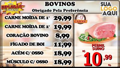 Tabela Digital Açougue, Lanchonete, Frutarias, Supermercados