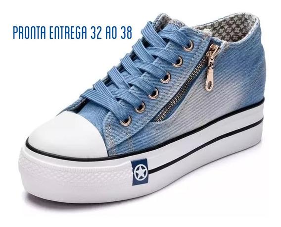 Tênis Plataforma Jeans Casual Importado Pronta Entrega