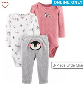 Kit Carters Conjunto Body Calça 3 Pç Roupa De Bebê Menina(o)