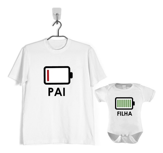 Kit 2 Peças Camiseta E Body Bebe Pai E Filha Bateria Energia
