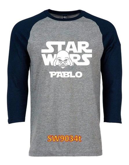 Playera Beisbolera Star Wars Darth Vader Personalizada Nombr