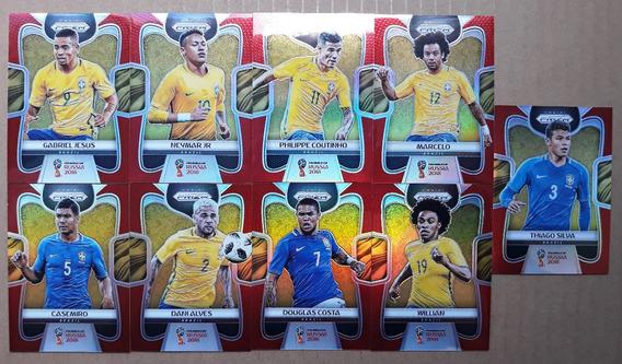 9 Cards Prizm Brasil Série Vermelho #/149 Copa Do Mundo 2018