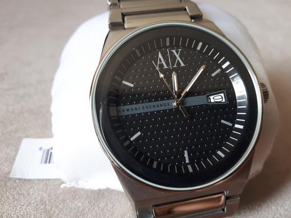 Relógio Original Armani Exchange Prata Com Fundo Preto