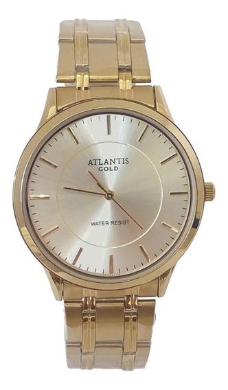 Relógio Feminino Dourado Original Atlantis A3043 Slim Vip