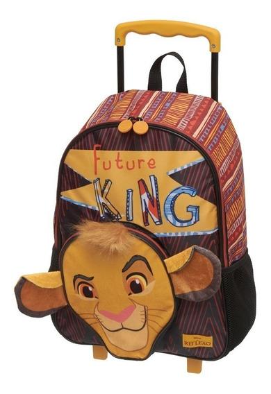 Mochila Carrinho Rei Leão Simba Escolar Infantil Grande G