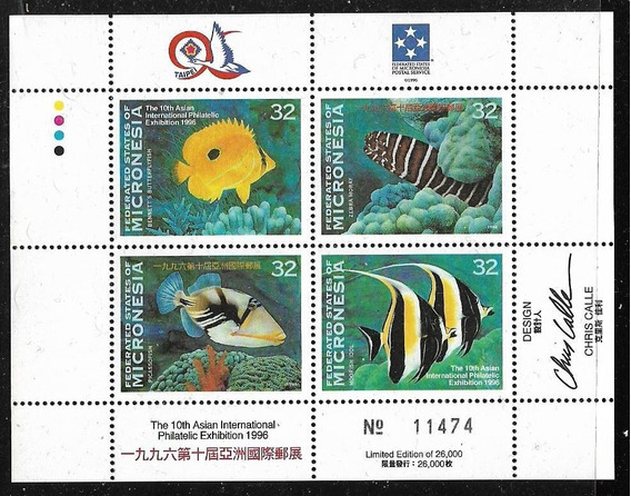 Micronesia Serie 4 Estampillas Mint Block Fauna Marina 1996